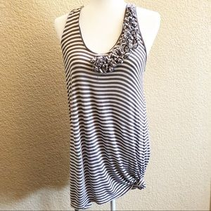 CABI gray & white striped sundress tank midi Small